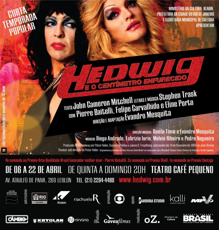 Estreia amanhã! Hedwig e o centímetro enfurecido no Teatro Café Pequeno
