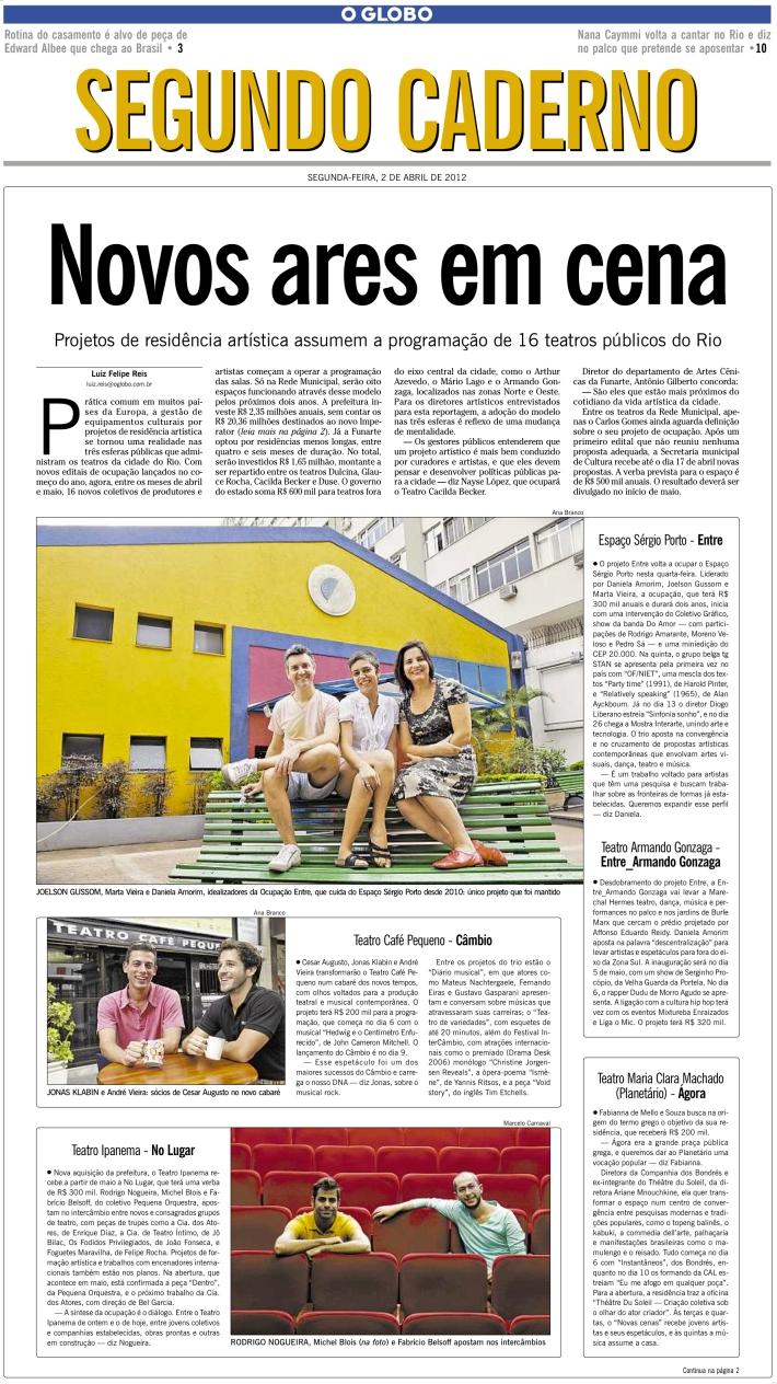 Ocupações Rio de Janeiro - Segundo Caderno 2/4/12