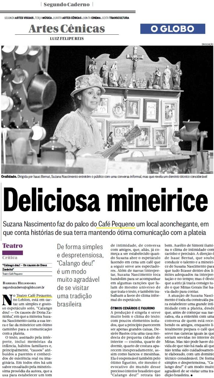 Crítica de Calango Deu no jornal O Globo 28/11/12
